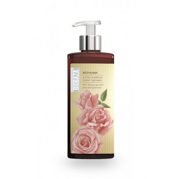 Sampon si gel de dus natural cu trandafiri si geranium - BIOBAZA