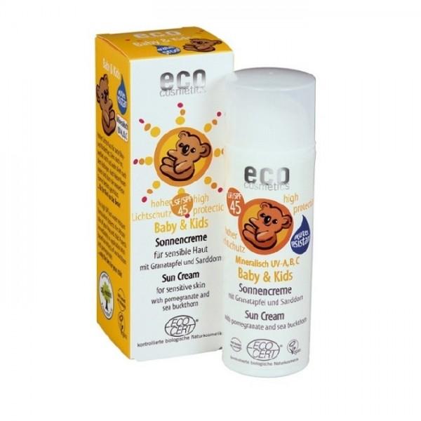 Crema bio protectie solara minerala bebe si copii FPS45 - Eco Cosmetics