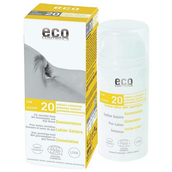 Lotiune fluida de protectie solara FPS20 cu goji si rodie, 100 ml - Eco Cosmetics
