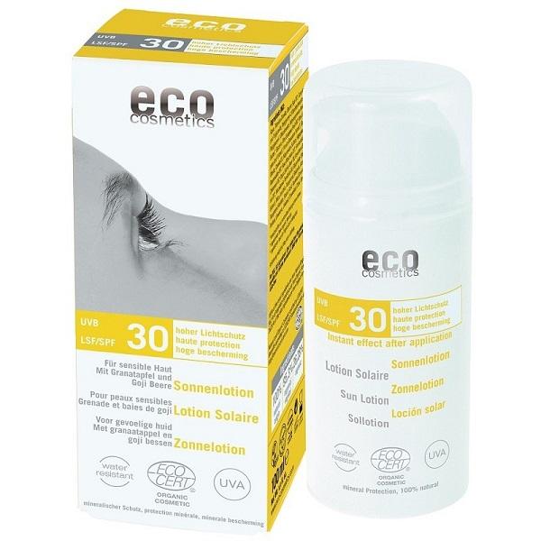 Lotiune fluida de protectie solara FPS30 cu goji si rodie, 100 ml - Eco Cosmetics