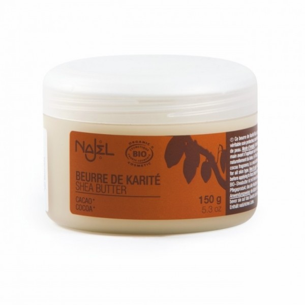 Unt de shea organic cu aroma de cacao, 150g - NAJEL