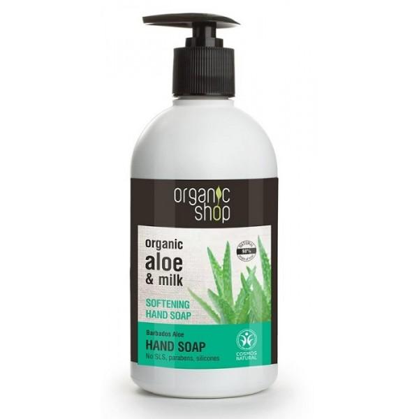 Sapun lichid hidratant cu aloe si lapte Barbados Aloe - Organic Shop