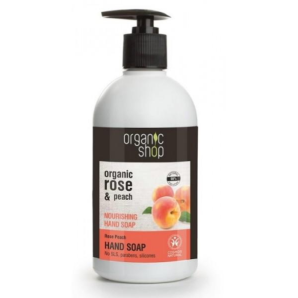 Sapun lichid nutritiv cu piersica si trandafir Rose Peach - Organic Shop