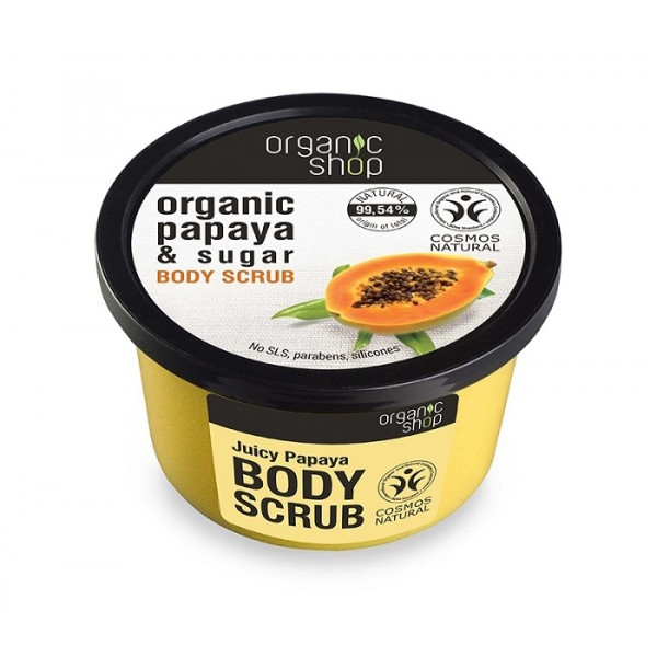Scrub de corp delicios cu zahar si papaya Juicy Papaya - Organic Shop