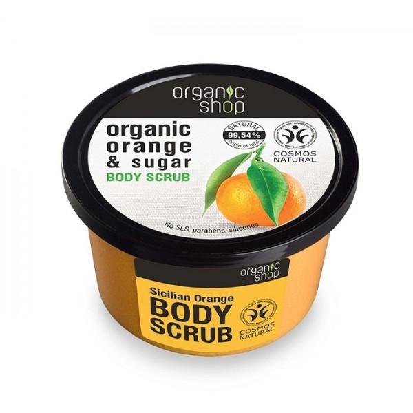 Scrub de corp delicios cu zahar si portocala Sicilian Orange - Organic Shop